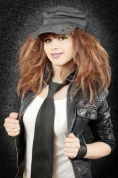 Young girl in a leather wear