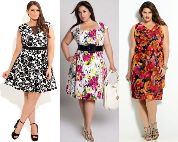 Fall floral dresses for plus size women