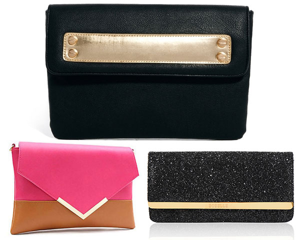 Gold bar detailed clutch
