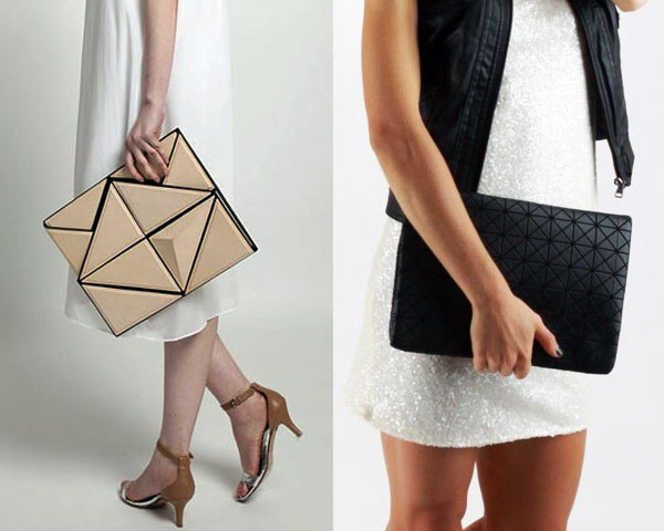Oversized geometric pouch