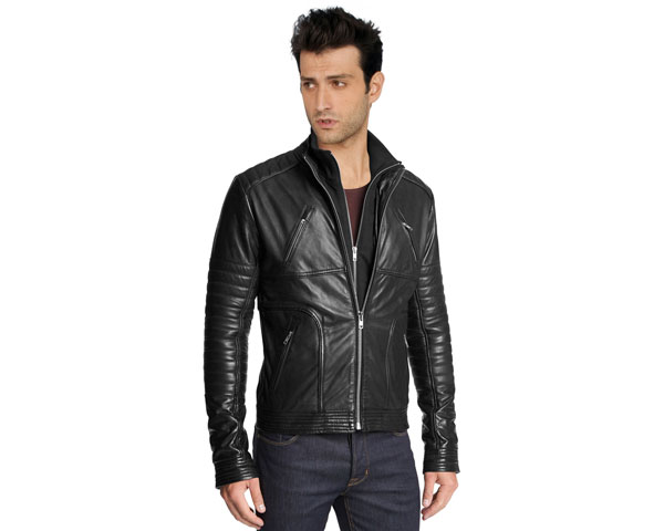 Leather Biker Jacket With Stitched Detailing