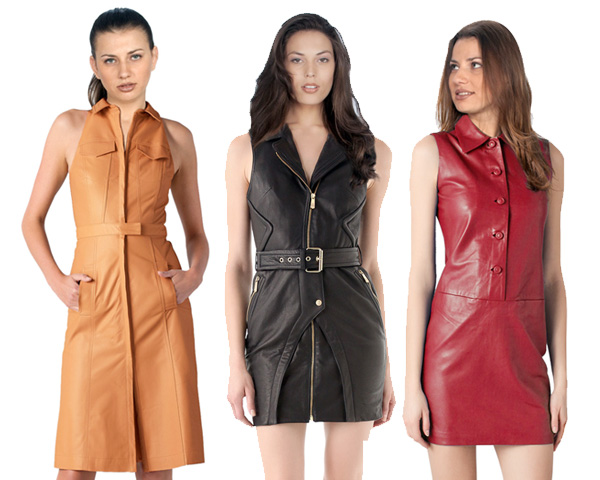 collared leather dresses