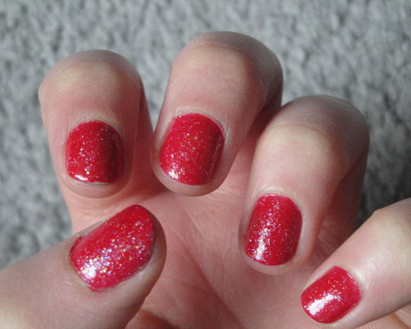 cherry red colored nailpaint