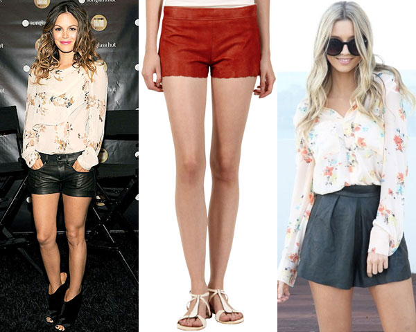 leather short with flowy blouse