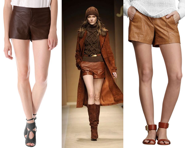 leather short with knit