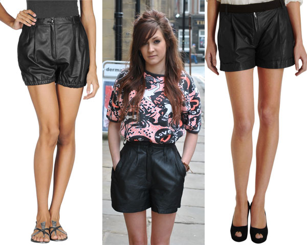leather short with printed tshirt