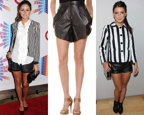 leather short with stripe