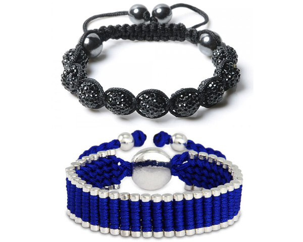 blue leather bracelete