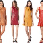 bright colored leather dresses