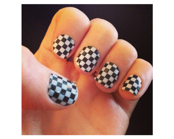 chequers printed nail art