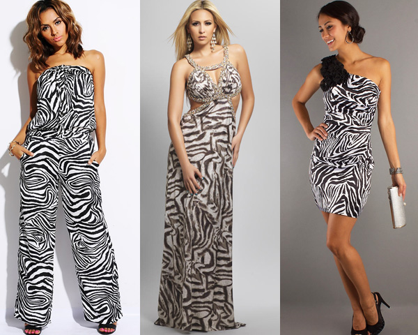 single outfit of zebra print