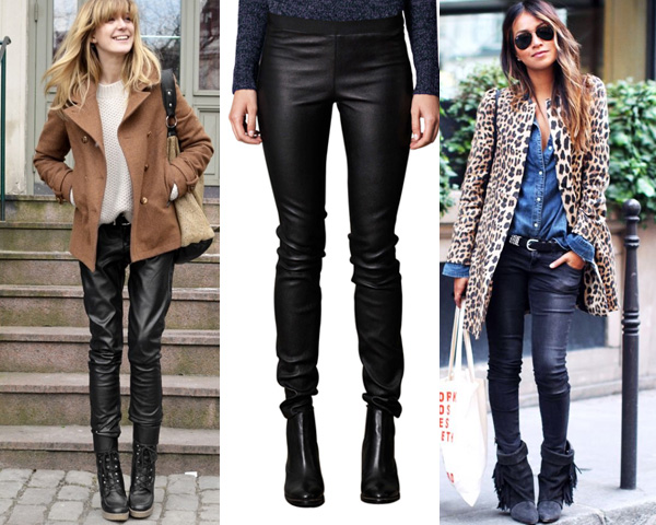 Leather casual pants