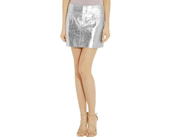 leather metallic skirt